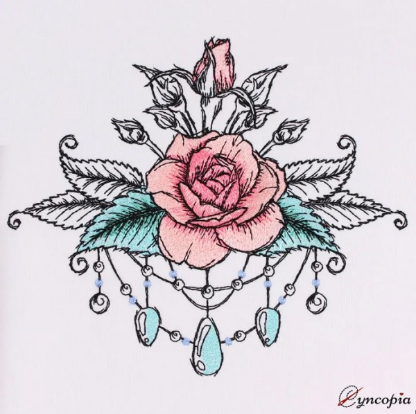 Embroidery Design Rose Romantic No. 10