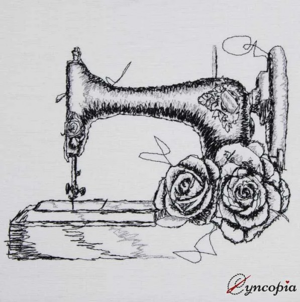 Embroidery Design Sewing Machine Rose scribble