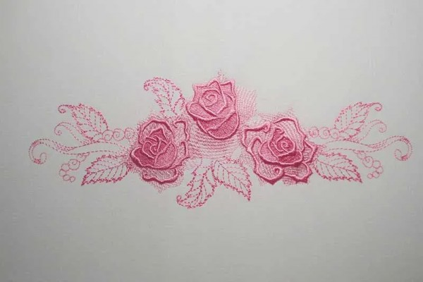Embroidery Design Gorgeous Rose Wide