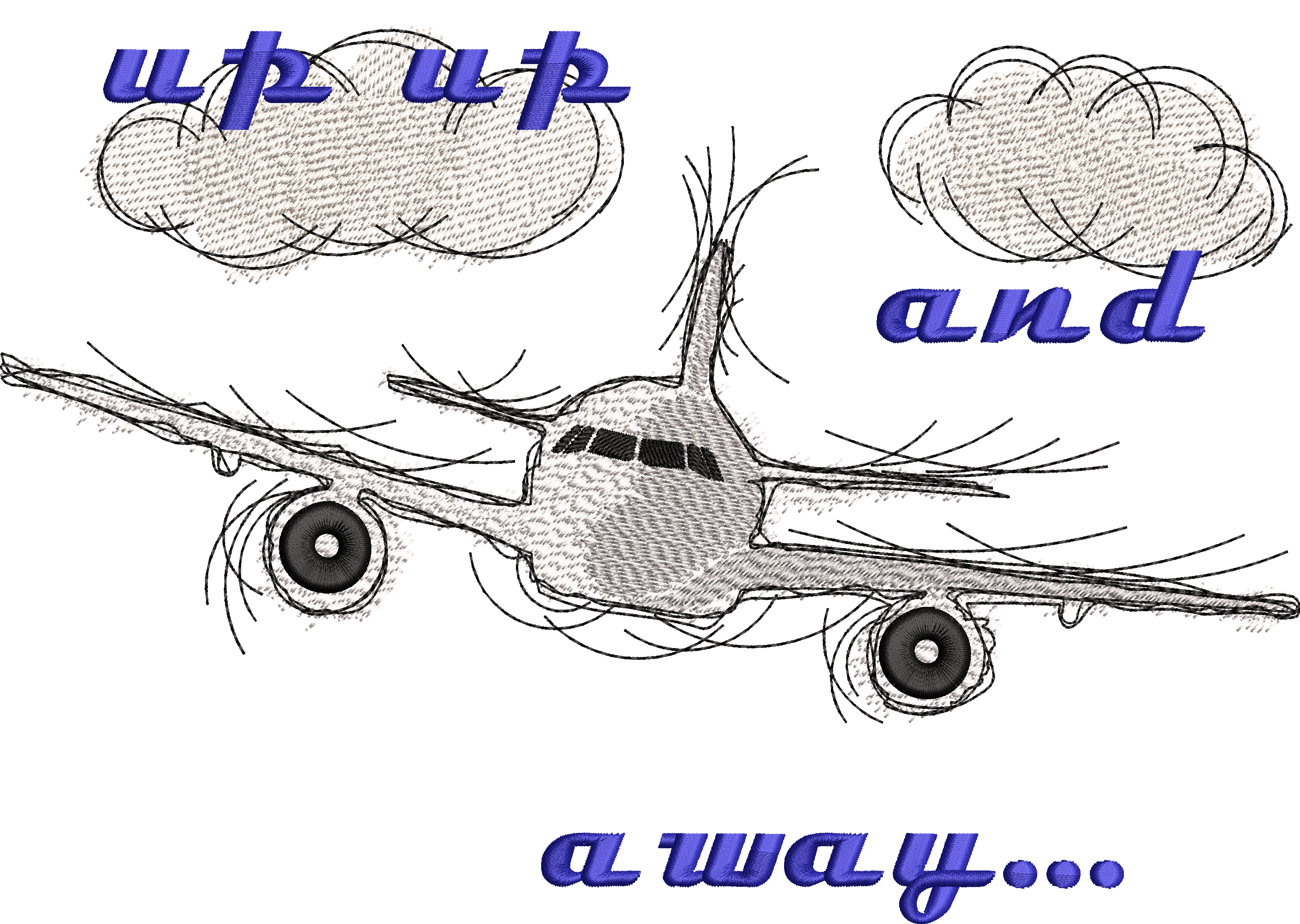 Embroidery Design Airplane Fly Away
