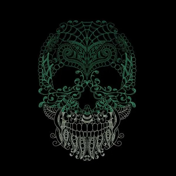 Embroidery Design Skull Zendoodle
