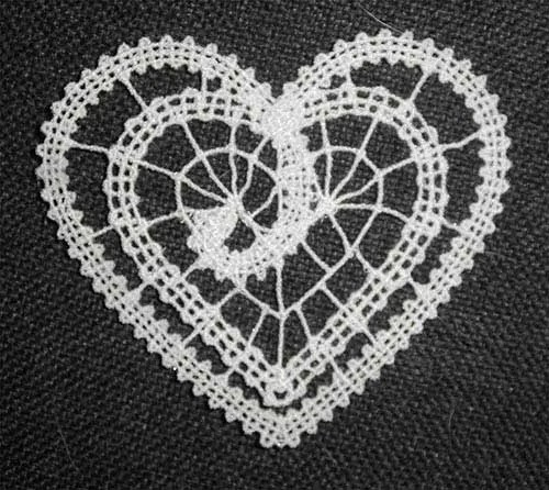 Embroidery Design Heart Battenberg Lace