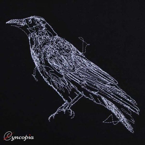 Embroidery Design Raven on black scribble
