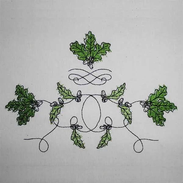 Embroidery Design Oak Leaves Set