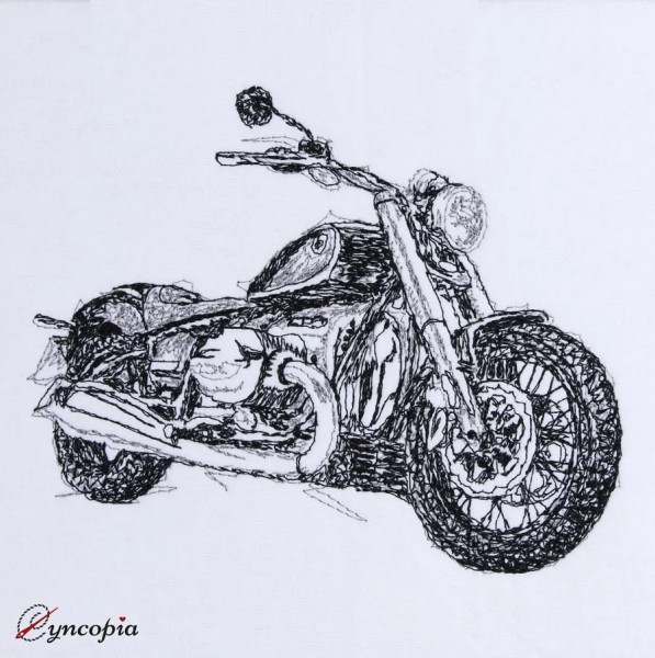 Embroidery Design Motorcycle scribble