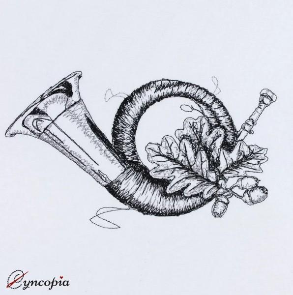 Motif de Broderie Corne à Souffler avec des Feuilles de Chêne scribble