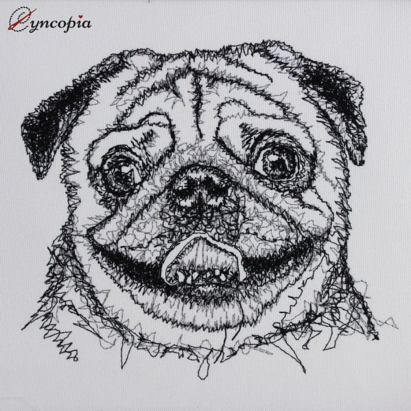 Embroidery Design Pug Scribble