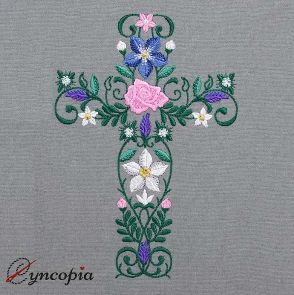 Embroidery Design Flower Ornament Cross