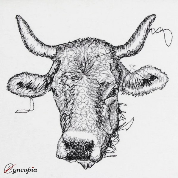 Embroidery Design Cow with Horn Scribble