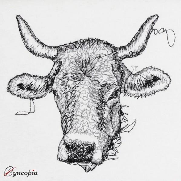 Motif de Broderie Vache avec Cornes Scribble