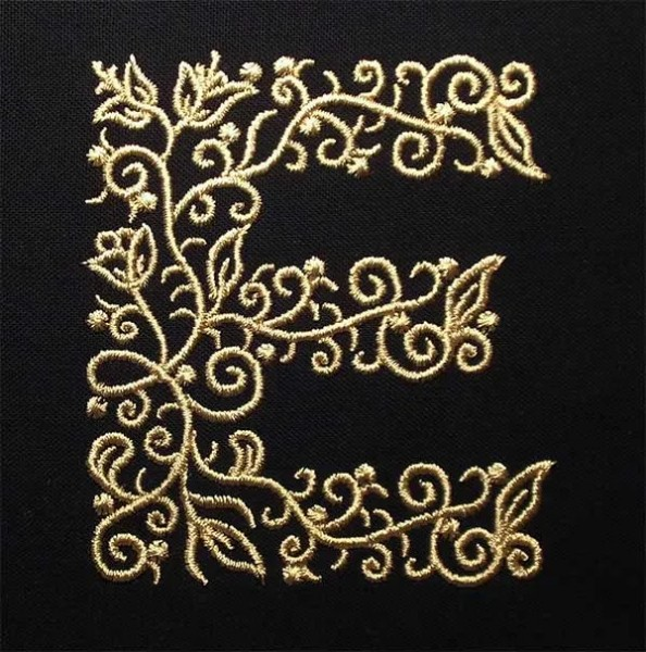 Embroidery Design E Fine Ornament