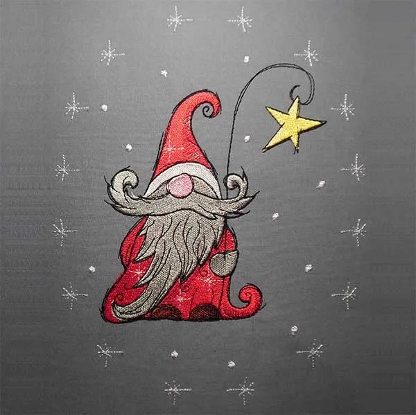 Embroidery Design Christmas Gnome Star