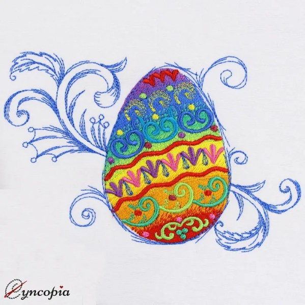Embroidery Design Easter Egg Rainbow baroque
