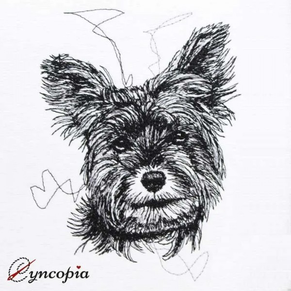 Embrodery Design Yorkshire Terrier Scribble