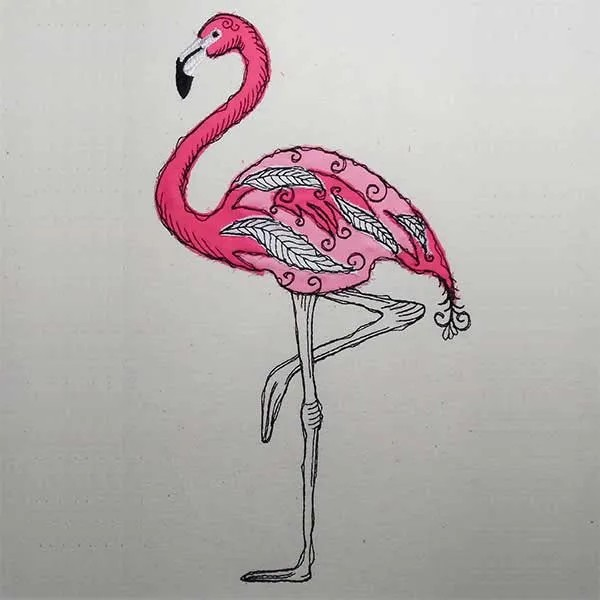 Embroidery Design Flamingo Doodle