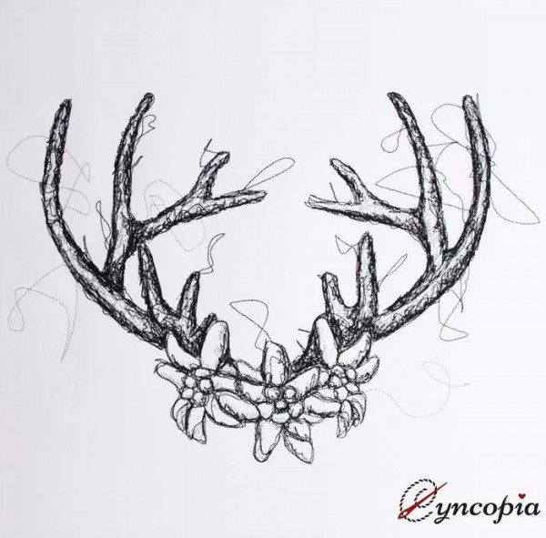 Embroidery Design Edelweiß Deer Scribble