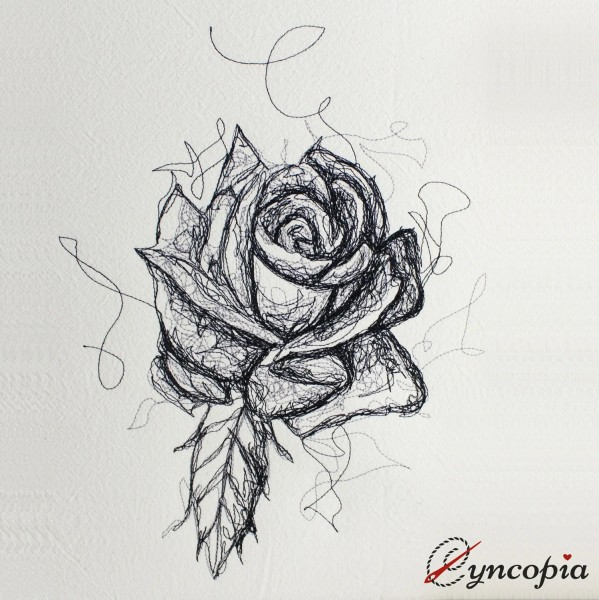 Embroidery Design Rose Scribble