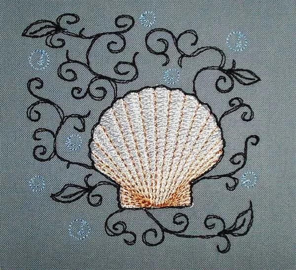 Embroidery Design Scallop Romantic