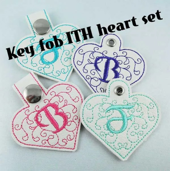 Embroidery Design Heart Monogram Key Fob ITH Set