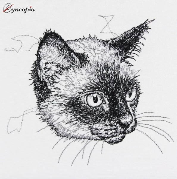 Motif de Broderie Chat Siamois Scribble