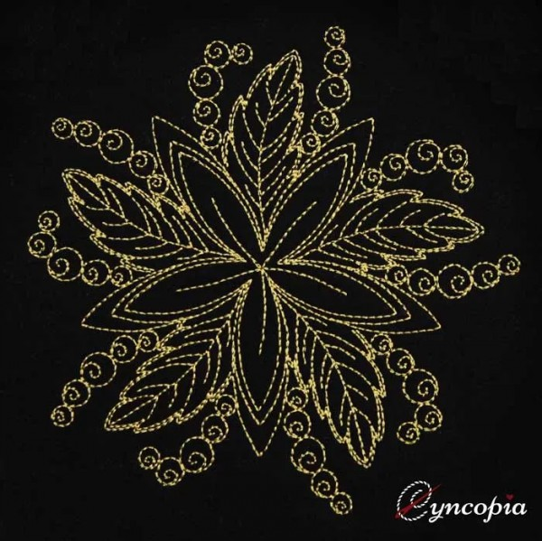 Embroidery Design Mandala Leaf Ornament
