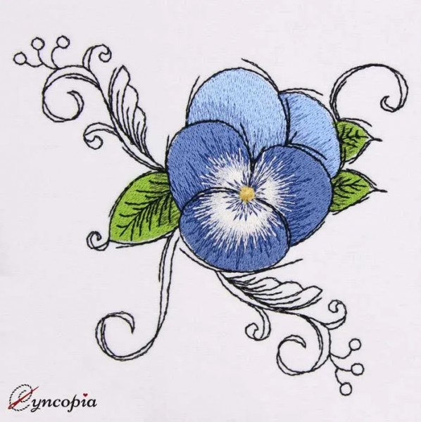 Embroidery Design Pansy Romantic