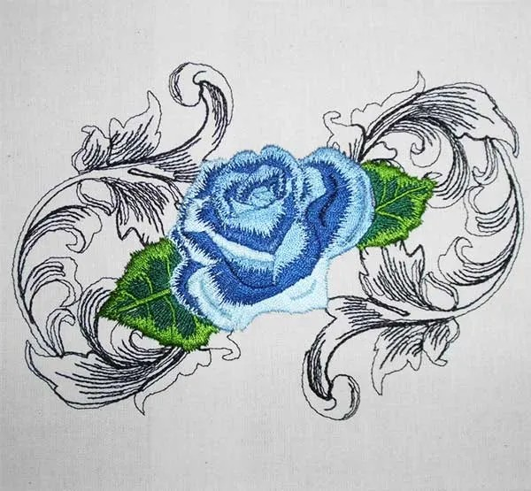 Embroidery Design Rose Baroque