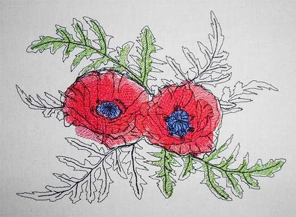 Embroidery Design Poppy Summer