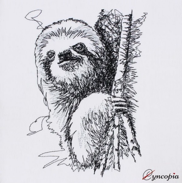 Embroidery Design Sloth Scribble