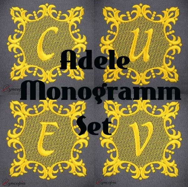 Embroidery Design Monogram Letters Adele Set