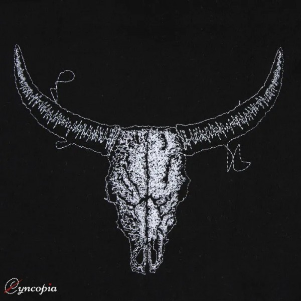 Embroidery Design Cattle Skull on Black Scribble