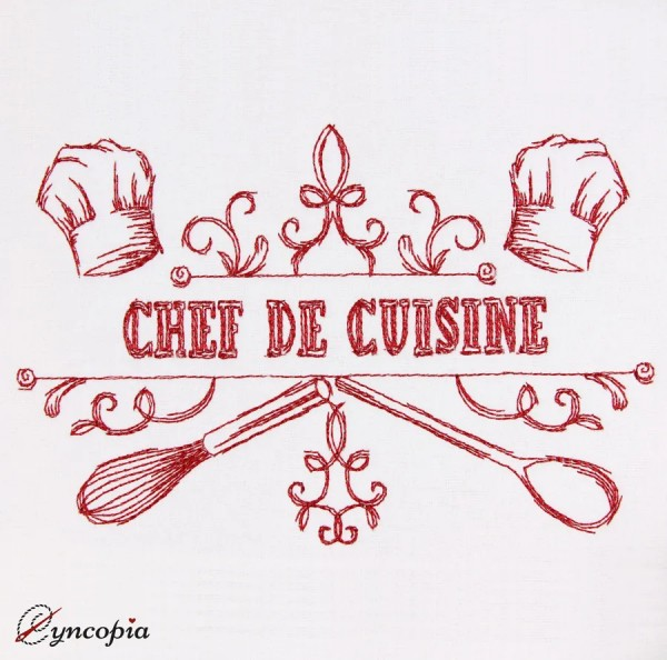 Embroidery Design Saying Chef de Cuisine