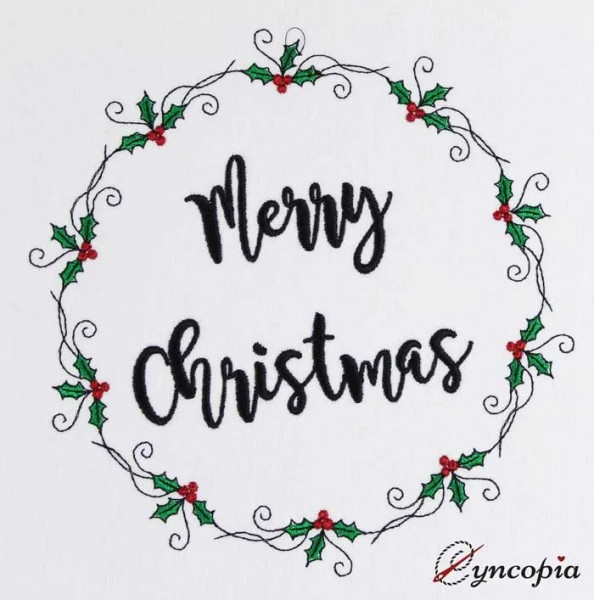Embroidery Design Christmas Ilex Frame Set