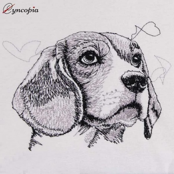 Embroidery Design Beagle Scribble