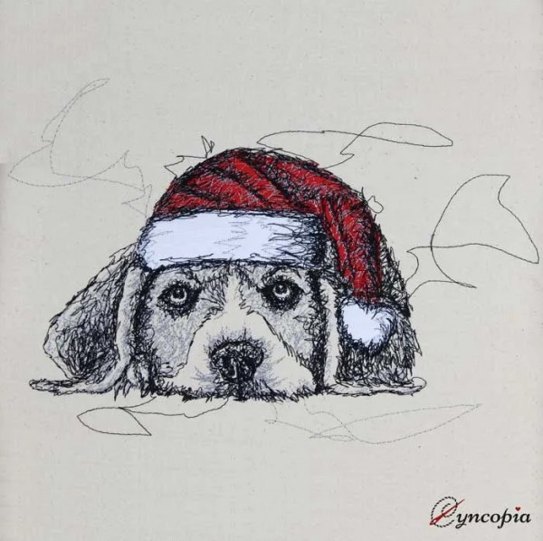 Embroidery Design Christmas Dog Doodle