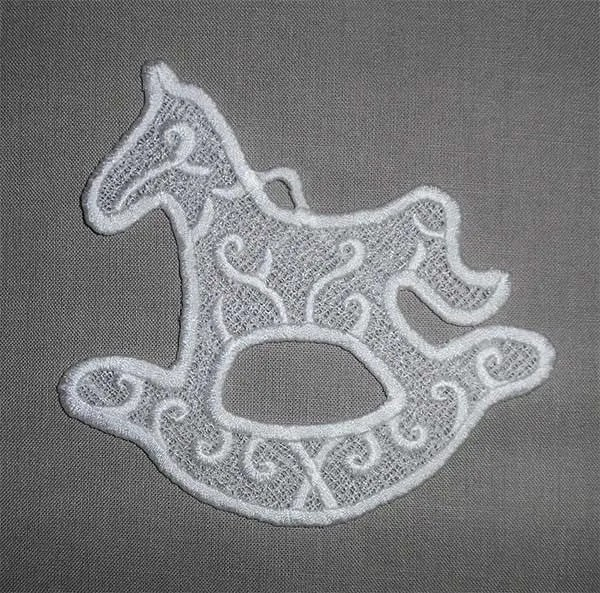 Embroidery Design Rocking Horse Lace