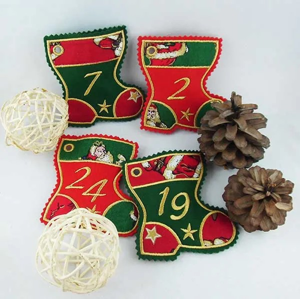 Embroidery Design Advent Calendar Boots ITH appli