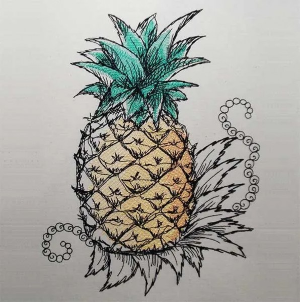 Stickdatei Ananas scribble
