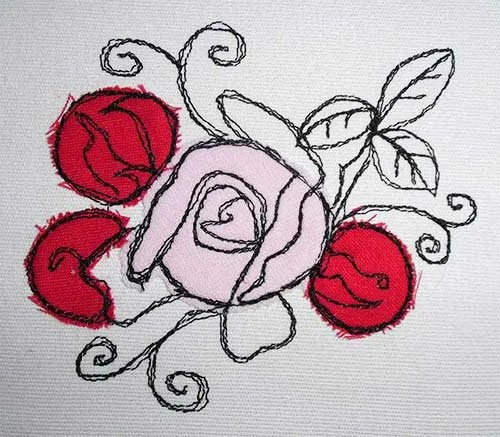 Fichier Broderie Rose avec Bourgeon doodle