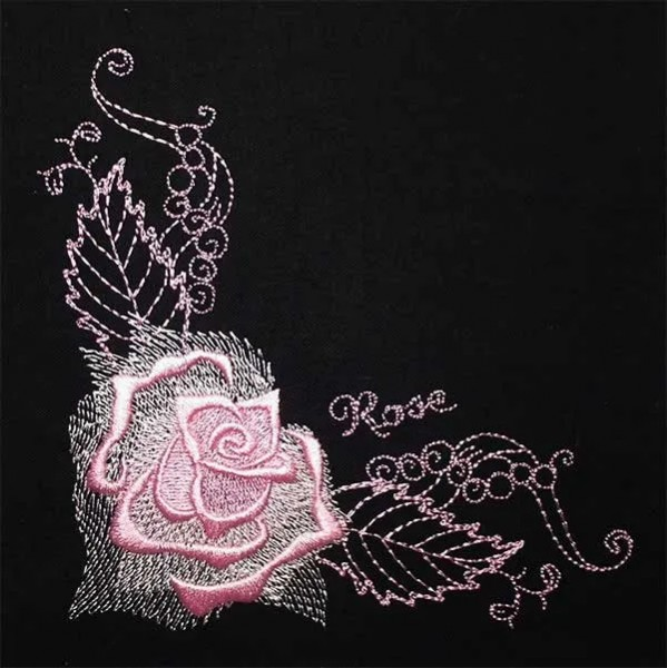 Embroidery Design Gorgeous Rose Corner