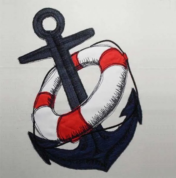 Embroidery Design Rescue Anchor Doodle
