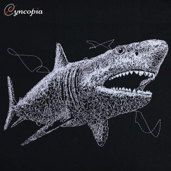 Embroidery Design Shark Scribble