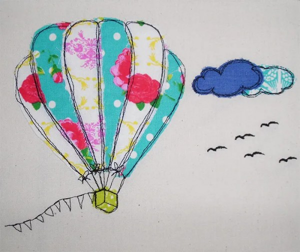 Embroidery Design Hot Air Balloon doodle