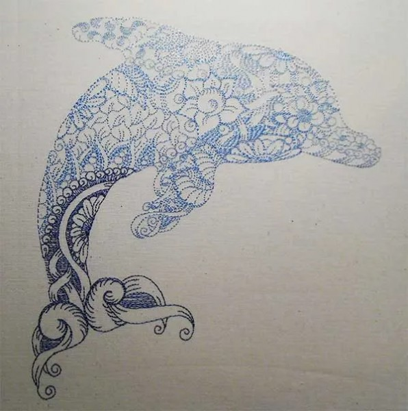 Embroidery Design Dolphin Zendoodle