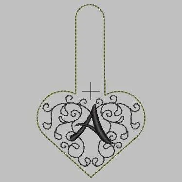 Embroidery Design Heart Monogram Key Fob ITH