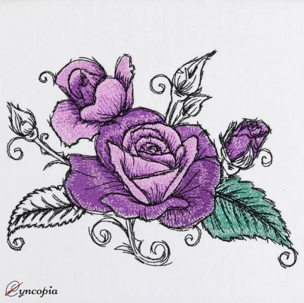 Stickdatei Rose Romantic No 11