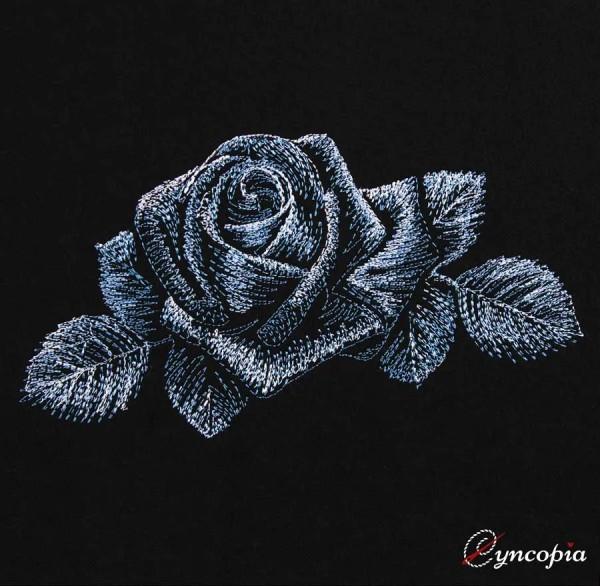 Stickdatei Rose auf schwarz