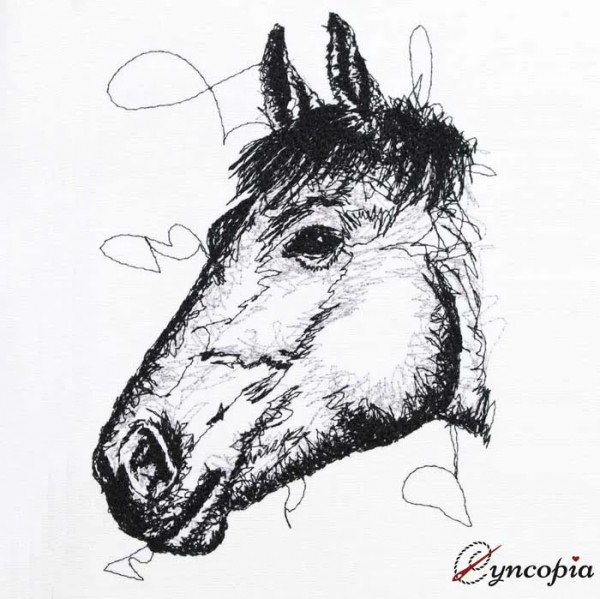Embroidery Design Horsehead scribble