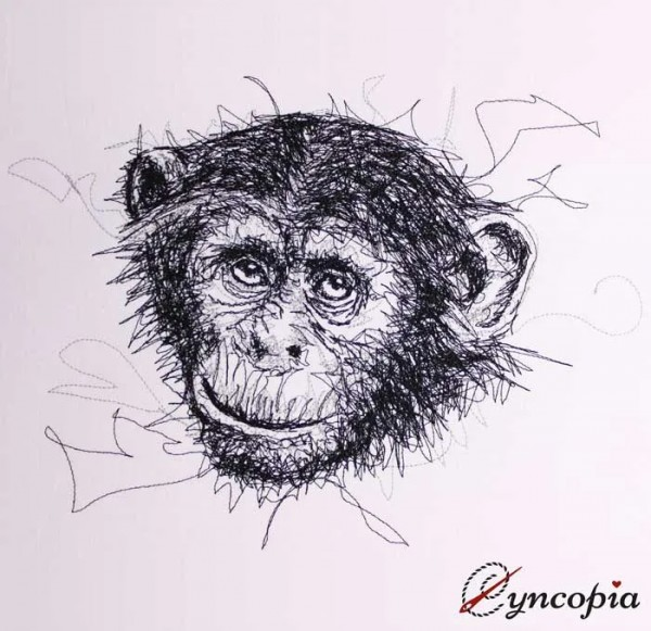 Embroider Design Chimpanzee scribble