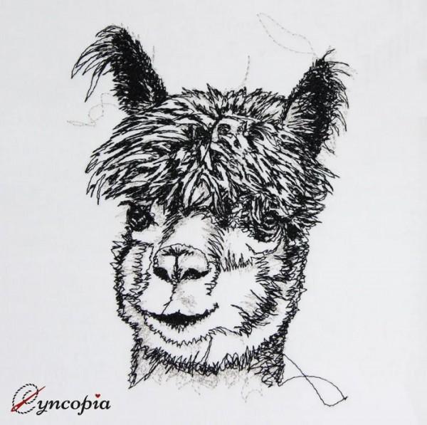 Embroidery Design Alpaca scribble